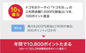 DOCOMO回線ユーザー 「dカードGOLD」で10%dポイントバック