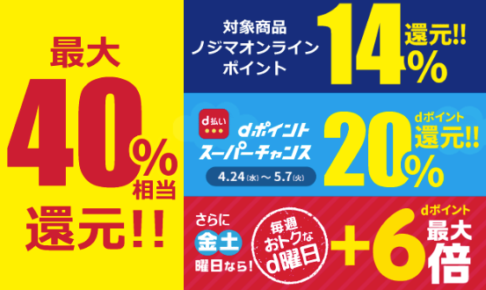 ノジマオンライン dポイントスーパーチャンス&d曜日併用で最大40%還元